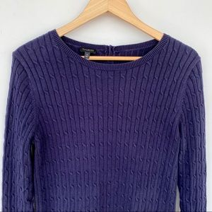 Talbots 💯 cotton cable knit crew neck sweater